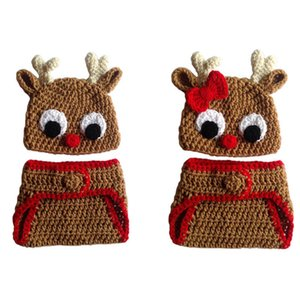 Crochet Twins Baby Renna Costume, Handmade Baby Boy Girl Rudolph Red Nose Moose Hat e Pannolino Cover, Neonato Natale Photo Prop