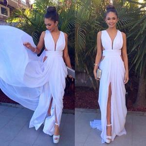 Vestido de noche blanco Vestidos De Noche Largos Elegantes 2019 Vestido de fiesta largo de gasa profundo con escote en V profundo
