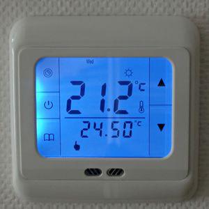 Mavi Backlight Dijital Yerden Isıtma Termostat Programlanabilir Ev Termostat Mavi Dokunmatik Ekran Termostat