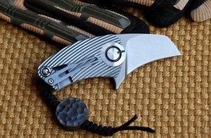 Titanyum TC4 EDC Mini Papağan Tasarım 66mm Uzun 82g Pençe Tipi Casp / Cep / Katlanır bıçak Taş S35VN Blade 59HRC ile yıkanmış Yüzey