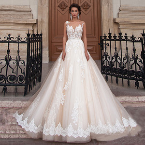 Sheer colher decote Champagne Cor Bola Vestidos Vestido de Noiva Applique Lace Illusion Voltar vestido de noiva vestido para Casamento