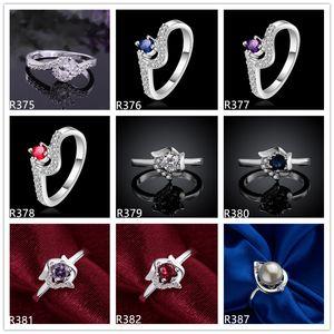 frauen edelstein plattiert sterling silber ring 10 stück viel gemischt stil emr39, online zum verkauf burst modelle hochzeit 925 silber platte ring