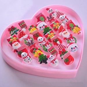 36 стили с Любовь коробка детское кольцо ПВХ рождественские кольца украшения призы небольшие подарки перчатки Санта рождественская елка снежинки кольцо