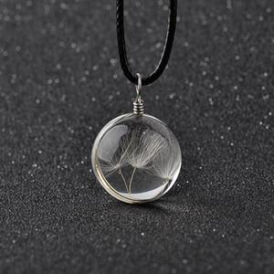 Real Dandelion Jewelry Crystal Glass Bottle Ball Collar de Diente de León Larga Tira de Cadena de Cuero Colgante Collares Para Las Mujeres 4035-5