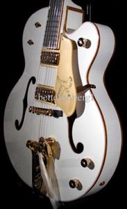 Rare Guitarra ideal Gretch Branco Falcon guitarra elétrica faísca corpo de ligação oco Body Double F Buraco Bigs Tremolo Gold Bridge Hardware