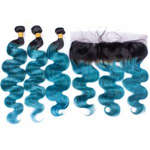 Синий омбре объемная волна девственницы человеческих волос пучки с 13*4 1B синий темный корень омбре перуанские волосы полный кружева фронтальная закрытие 4 шт. лот