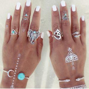 Al por mayor-8pcs / set Nuevo anillo de elefantes Bohemia Set Anillos de dedo retro turcos Vintage Boho Ring Set para mujeres Knuckle Midi Ring