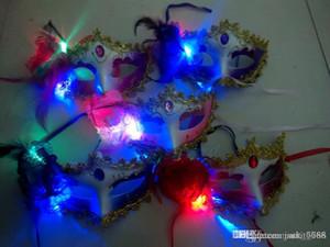 Ücretsiz kargo Ucuz kargo aydınlık tüy maskeleri Bar Masquerade Maske Cadılar Bayramı Maskesi Parti Oyuncaklar toptan