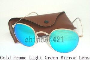Liga dos homens das mulheres de moda óculos de sol retro rodada eyewear moldura de ouro espelho verde lente de vidro 50mm com brown case