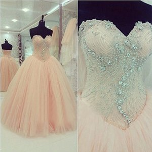 Gorgeous Sweet 16 Dresses Ball Gown Blush Pink Soft Tulle Quinceanera Dress Exquisite Beaded Top Sweetheart Sleeveless Prom Party Gowns