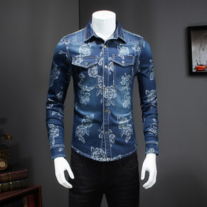 All'ingrosso-Brand New Men Shirt Moda 2017 Slim Fit Manica lunga camicie mens Gira Giù Il Collare Doppia Tasca design Jeans Shirt Uomo 5XL-M