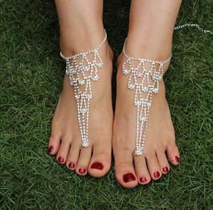Knöchel Armband Sexy Strass Barfuß Sandalen Zehenring Yoga Fußkettchen Sandstrand Hochzeit Braut Fuß Schmuck Strand Pool Tragen Valentine Geschenke