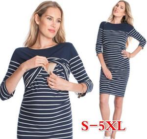 Explosive sexy 2017 fat MM stripes mosaic pregnant women breast dress women dress Maternity Clothing Maternity Dresses