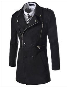 2016 Moda Nuevo Largo Trench Coat Hombres Cremallera Doble Pecho Decoración Slim Fit Pea Coat Invierno Trenchcoat Jacket