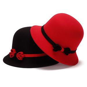 Sombrero de copa de las mujeres de la vendimia señoras Bowknot Floppy Stingy Brim Hat Mezcla de lana caliente Felt Trilby Bowler Sombrero de fieltro sombrero de Sun Beach Cap