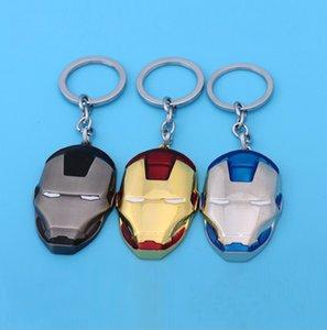 Llavero al por mayor, Regalos creativos Iron Man Mask Llavero de metal, Avengers Movie Peripherals Llavero colgante, 3 colores, envío gratis