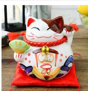 4,5-Zoll-japanische Keramik Lucky Cat Ornamente Piggy Mini Trompete Auto Ornamente Schmuck Geschenk