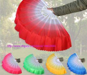 50 pcs Dança Cinética Dança Do Ventre Fan Kung Fu Tai Chi Prática Chinês Desempenho Indiano Grande Véu De Seda Do Ventilador Festa de Casamento Presente navio livre