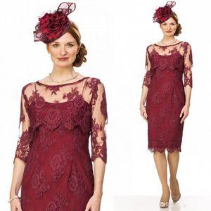2017 New Vintage Burgund Spitze Mutter Kleider Elegante Scoop Halbe Lange Ärmel Mutter Der Braut Kleider Plus größe Hochzeit Kleider