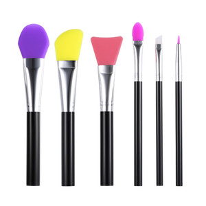 6 stücke Silikon Make-Up Pinsel Set Gesichtsmaske Pinsel Foundation Lidschatten Augenbraue Pinsel Flectional Pinsel Kopf Kosmetik Make-Up Pinsel Werkzeuge