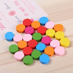 Heart   Coin 80pcs colorful Woodgrain Spacer Bead Jewelry for Bracelet 17mm