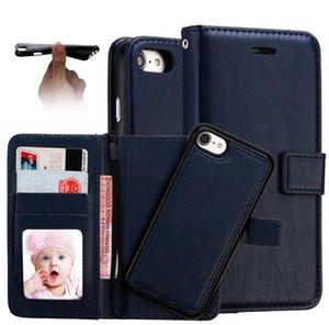Funda de cuero con múltiples colores para el iPhone 7 7 Plus Crazy Horse Pattern 2 en 1 PU Wallet Cubierta de cuero magnética