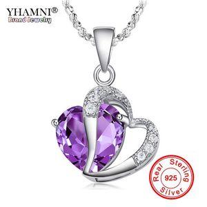 YHAMNI Moda Joyería Fina Real 925 de Plata Romántico Corazón Púrpura Cristalino Colgante Collar Para Las Mujeres Collar de Joyería de Plata Pura BKN013