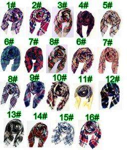 10 UNIDS mujer de invierno de lana bufanda de giro señoras de doble cara cheques de algodón multicolor pañuelo hombre bufanda 140 * 140 cm 16 colores envío gratis