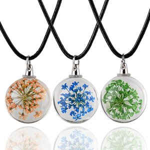 14 Colour Glass Ball Real Dry Flower Collana con ciondolo in vetro Collana Cupola in vetro Wish Collana in pelle con catena Gioielli Donna Regalo 5