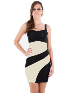 섹시한 패치 워크 활주로 드레스 고품질 스파게티 스트랩 스트리트 스키니 패션 슬릭 Clubwear 컬러 블록 세련된 드레스