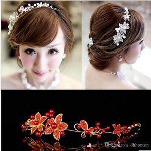 Stokta 2019 Gelin Tiaras Taçlar Stok Kafa Düğün Saç Aksesuarları Sahte İnci Çiçek Fascinator Parlak Kristal Tiara Kırmızı Gelin Jewel