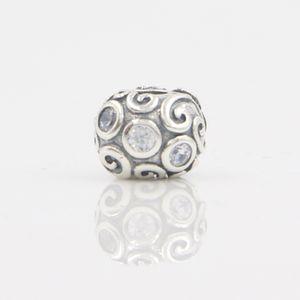 European Round Charm Bijoux Silver Bead With CZ Diamond Fashion Charm Beads Fit Women DIY Pandora Chain Bracelets & Bangles Free shipping