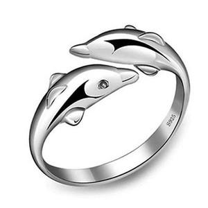 Atacado-Novo 1 PC Banhado A Prata Duplo Design Dolphin Abertura Ajustável Anéis Presente Chic