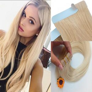 PU bande de peau transparente dans la trame Remy Extensions de cheveux humains droite # 60 platine blonde femmes Style de mode 16-20 pouces 20 PCS livraison gratuite