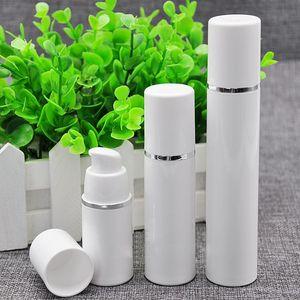 15ml 30ml 50ml haute qualité, pompe sans air blanche, bouteille - distributeur de crème de soin cosmétique rechargeable par Travel, contenant de lotion PP
