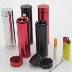 Metal Ot Değirmeni All-in-one Dugout Değirmeni hepsi bir Öğütücü Stash ve Bir hitter Sigara Durumda Tutucu Alüminyum Cep Sigara Durumda