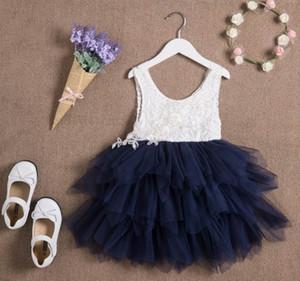Großhandel Sommer-neue Mädchen-Spitze-Kleid-Gaze-Prinzessin-Weste-Kleid-Mädchen-Partei Sundress Layered Kinder Kleidung E16900