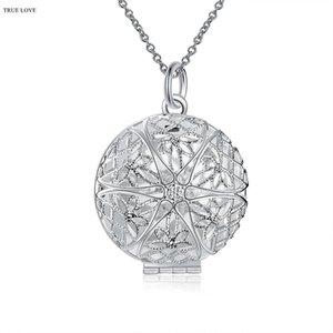 El círculo hueco del collar del marco de plata 925 puede abrir el envío libre de calidad superior de la joyería del encanto clásico de la mujer