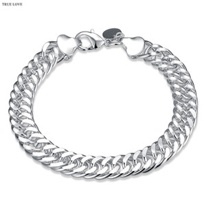 10MM men chain bracelet fashion jewelry 925 sterling silver plated cool party style Christmas gift Top quality free shipping