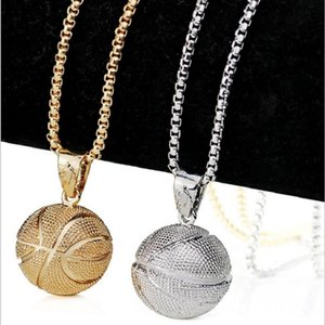 3D Basketball Fußball Rugby Anhänger Halskette Edelstahl Kette Sport Team Fan Halskette für Männer Frauen Gold Schmuck