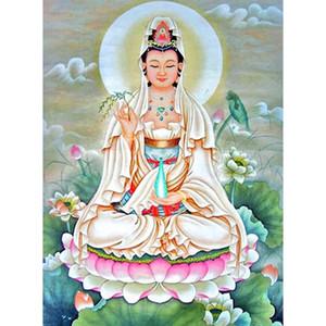 Diy Diamond Painting Cross Stitch домашний декор Avalokitesvara Crystal Square Diamond Неоконченный плакат для кафе 59X80CM HWF-123