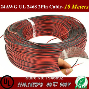 Al por mayor-10 Metros de cobre estañado 24AWG, 2 pin Red Black cable, 80 Degree 300V PVC de alambre aislado, cable eléctrico, cable LED 11 / 0.16TS * 2