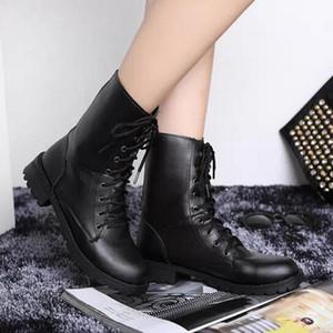 Moda Donna Stivali Classic Square Heel PU Pelle Martin Stivali da moto per le donne Stivali invernali Scarpe nere