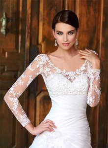 Sheer Scoop V-neck High Bateau Neck Long Sleeve Covered Buttons Lace Applique Bridal Wraps & Jackets For Wedding Dresses Bridal Accessories