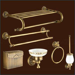 새겨진 유럽 스타일의 청동 욕실 하드웨어, 골동품 황동 욕실 액세서리 세트, 무료 배송 J15287