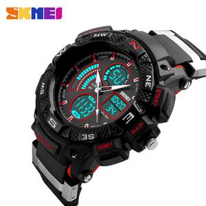 SKMEI Brand Men Sports Watches Dual Time Zone Analog LED Digital Quartz Watch Fashion Student Outdoor Multifunction Wristwatch 1211