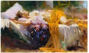 Ücretsiz Nakliye, Pino Daeni tarafından Sleeping Beauty, El boyalı ünlü Empresyonist Sanat Tuval Üzerine Yağlıboya, özelleştirilmiş boyut ...