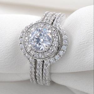 Мода 10-каратного белого золота заполнены Имитация Алмаза CZ Коктейль Драгоценный Камень Кольца Обручальное Обручальное Кольцо Невесты Кольцо Ювелирные Изделия Для Женщин