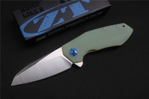 Envío gratis, cuchillo plegable ZT0456 de alta calidad, hoja: D2 (mancha), manejar Jade G10, herramientas de mano al aire libre que acampan que cazan, venta al por mayor, regalos
