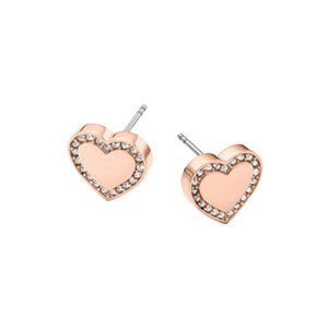 Nueva Venta al por mayor Earing Fashion Jewelry Marca de Diseño Corazón Plata Oro Oro Rosa Oro Stud Pendientes Para Las Mujeres Crystal Pendientes Freeshipping